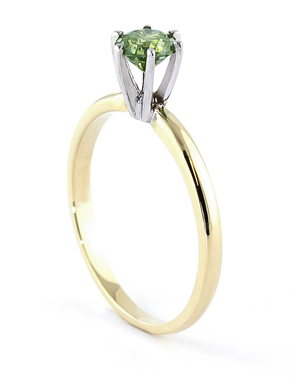 Green Diamond Crown Solitaire Ring in 9ct Gold