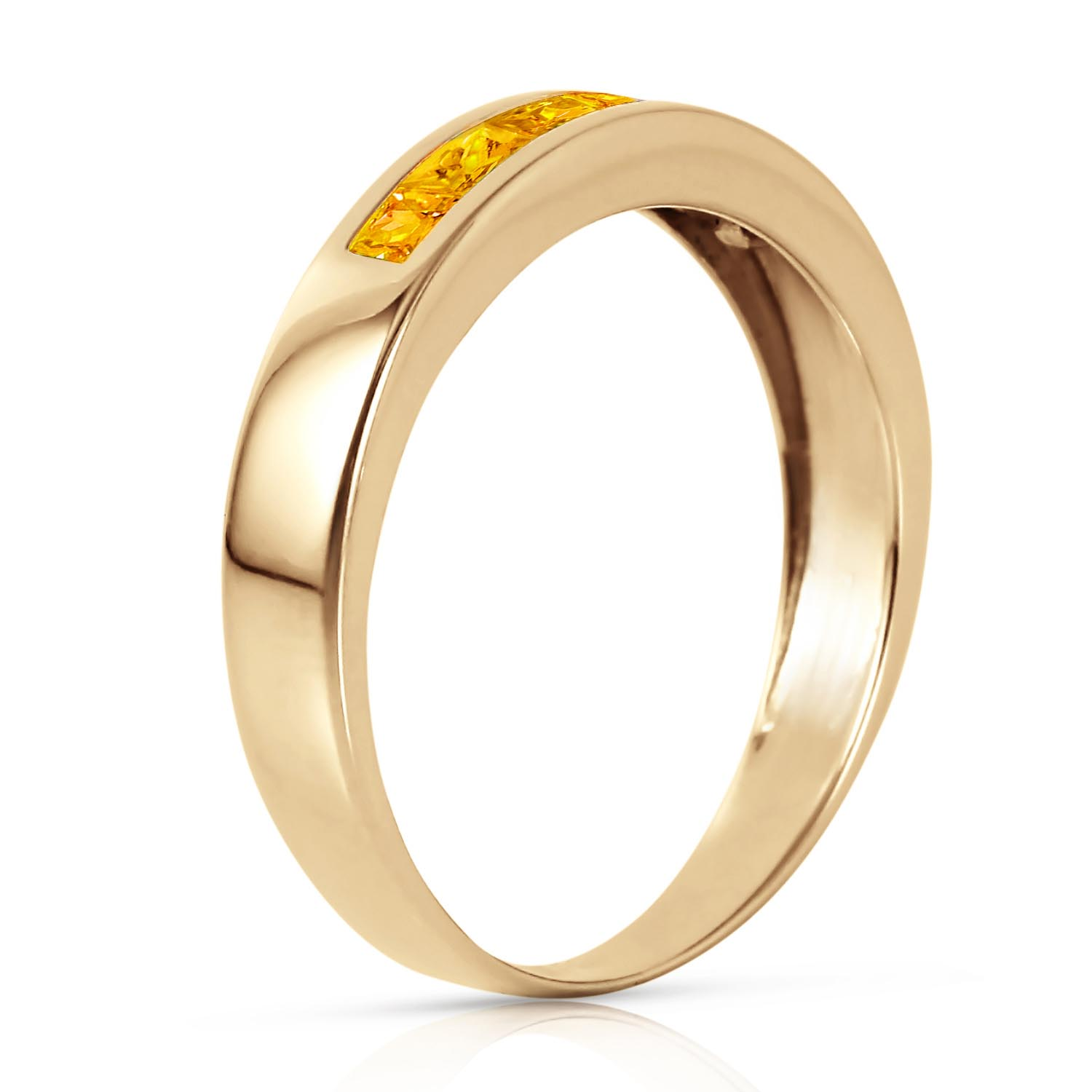 Princess Cut Citrine Ring 0.6ctw in 9ct Gold