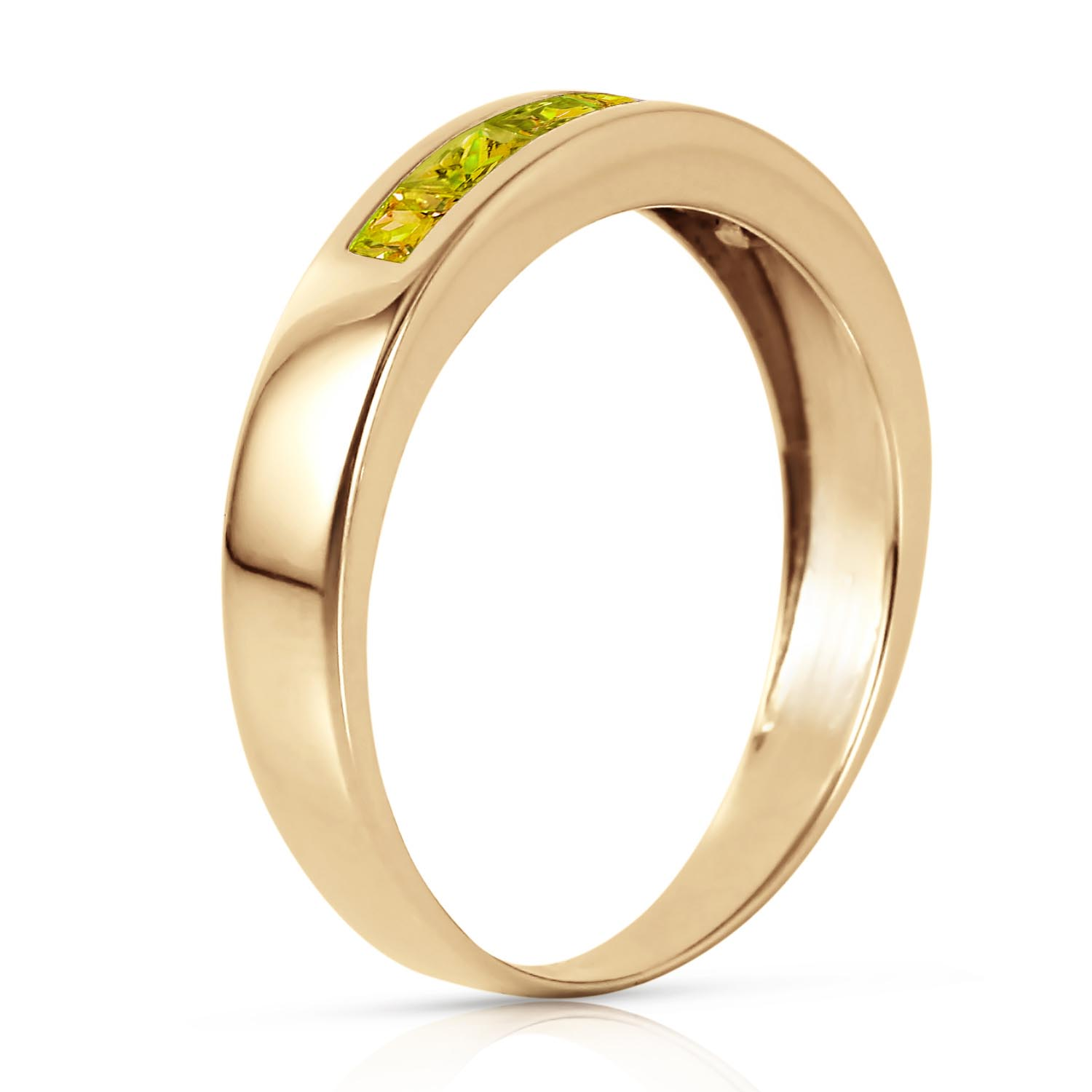 Princess Cut Peridot Ring 0.6ctw in 9ct Gold