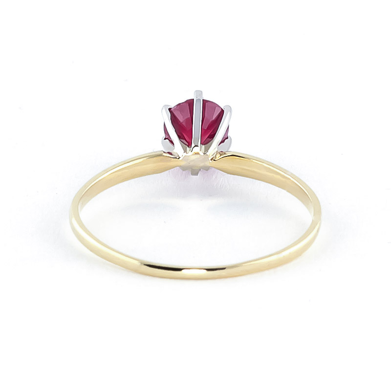 Ruby Crown Solitaire Ring 0.65ct in 9ct Gold