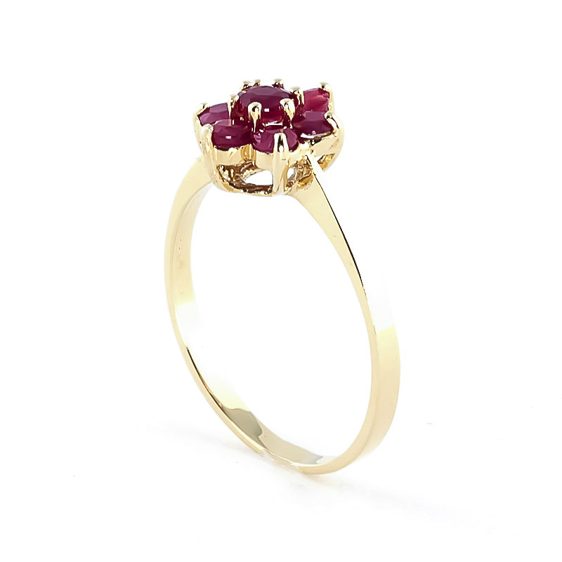 Ruby Wildflower Cluster Ring 0.66ctw in 9ct Gold