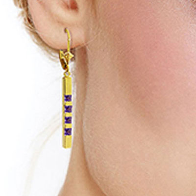 Amethyst Bar Drop Earrings 0.7ctw in 14K Gold
