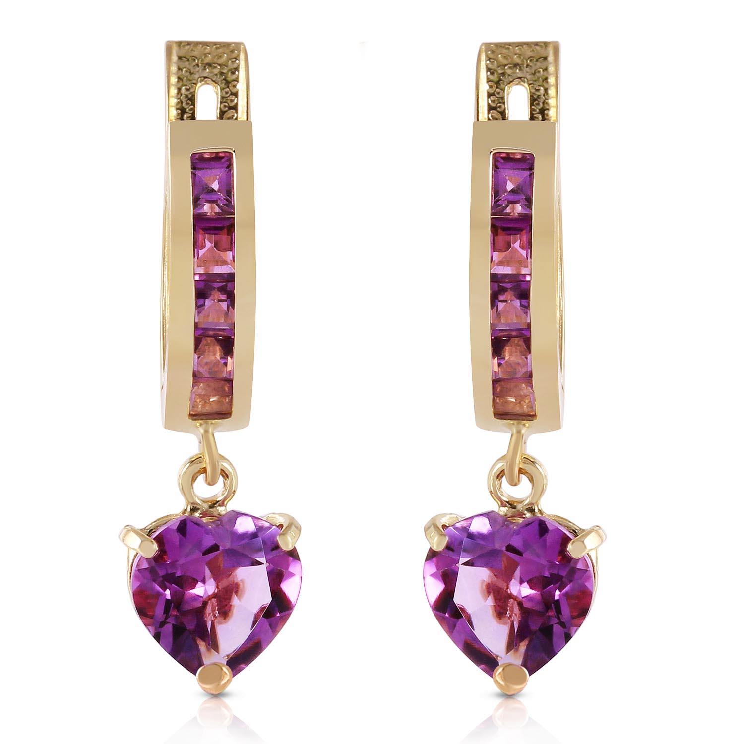 Amethyst V-Shape Hoop Earrings 0.85ctw in 9ct Gold