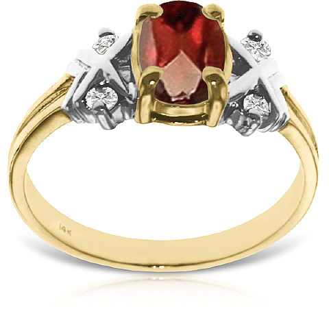 Garnet and Diamond Ring 0.85ct in 14K Gold