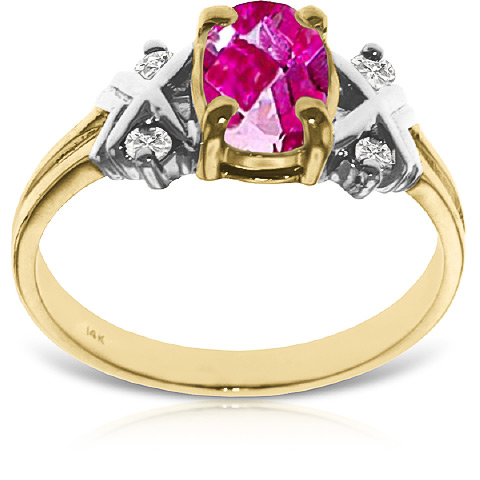 Pink Topaz and Diamond Ring 0.85ct in 9ct Gold