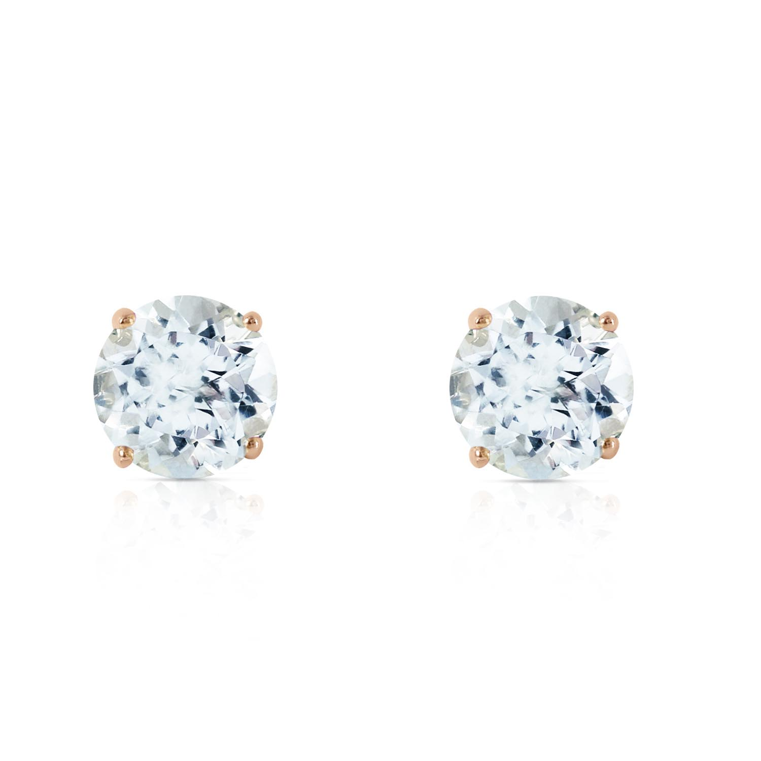 Aquamarine Stud Earrings 0.95ctw in 14K Gold