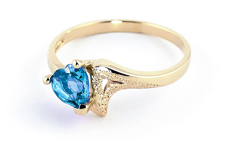 Blue Topaz Devotion Heart Ring 0.95ct in 14K Gold