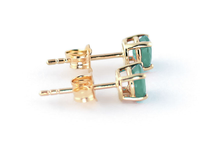 Emerald Stud Earrings 0.95ctw in 9ct Gold