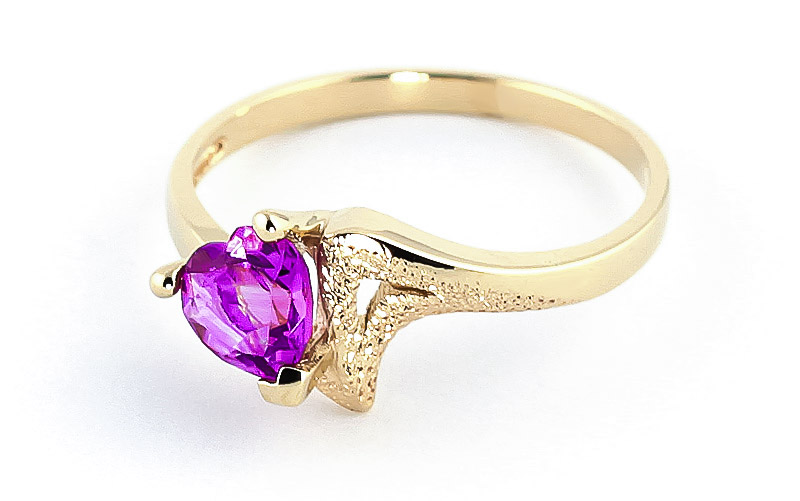 Pink Topaz Devotion Heart Ring 0.95ct in 9ct Gold