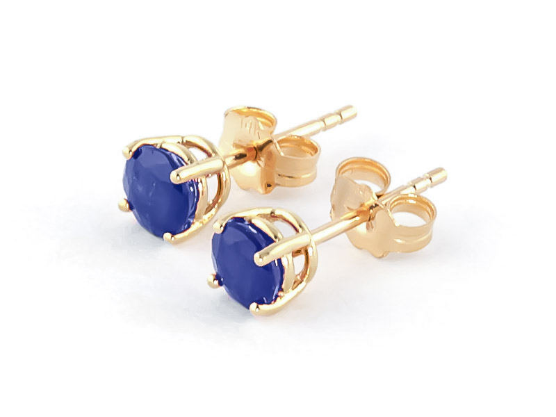 Sapphire Stud Earrings 0.95ctw in 14K Gold