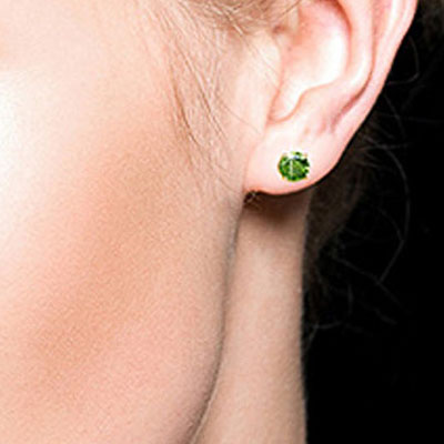 Green Diamond Stud Earrings in 14K Gold