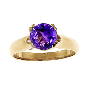 Round Brilliant Cut Amethyst Solitaire Ring 1.1ct in 9ct Gold