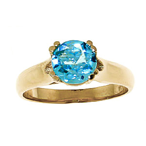Round Brilliant Cut Blue Topaz Solitaire Ring 1.1ct in 14K Gold