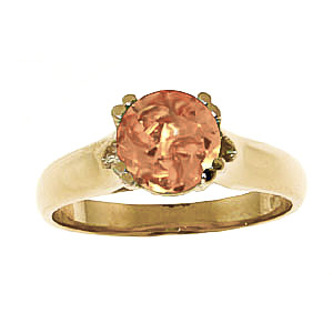 Round Brilliant Cut Citrine Solitaire Ring 1.1ct in 9ct Gold