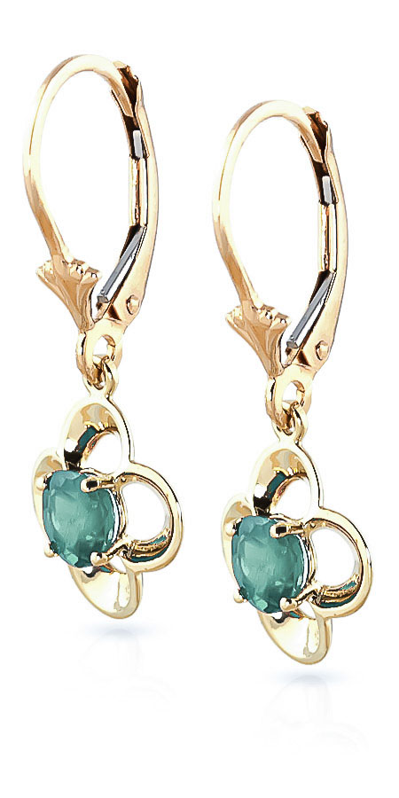 Emerald Corona Drop Earrings 1.1ctw in 9ct Gold