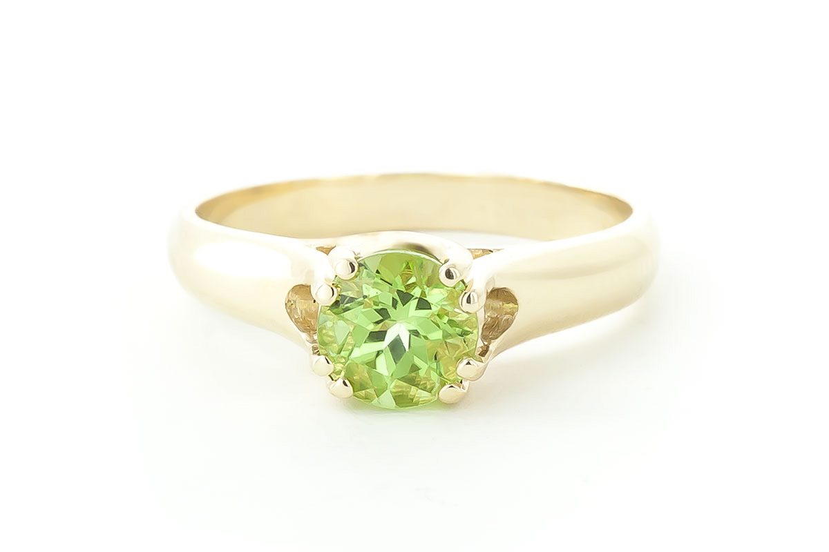 Round Brilliant Cut Peridot Solitaire Ring 1.1ct in 9ct Gold