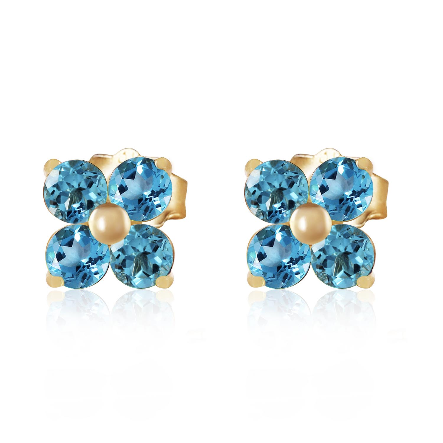 Blue Topaz Clover Stud Earrings 1.15ctw in 9ct Gold
