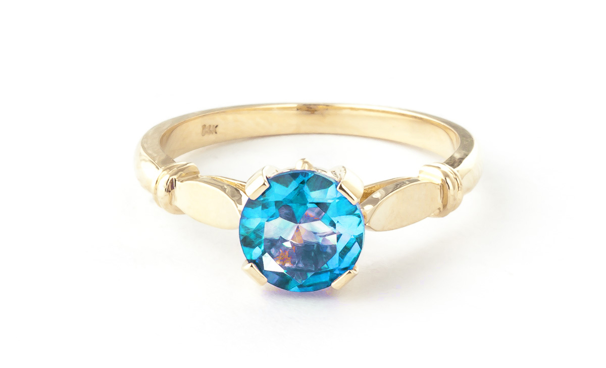 Round Brilliant Cut Blue Topaz Solitaire Ring 1.15ct in 14K Gold