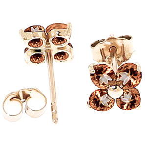 Citrine Clover Stud Earrings 1.15ctw in 9ct Gold