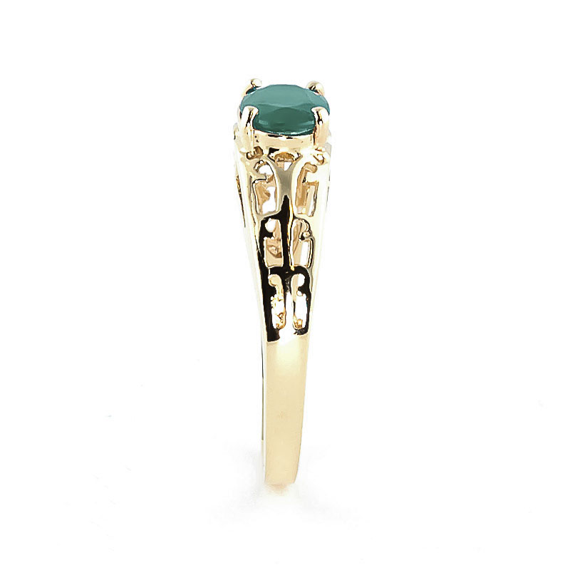 Emerald Catalan Filigree Ring 1.15ct in 14K Gold