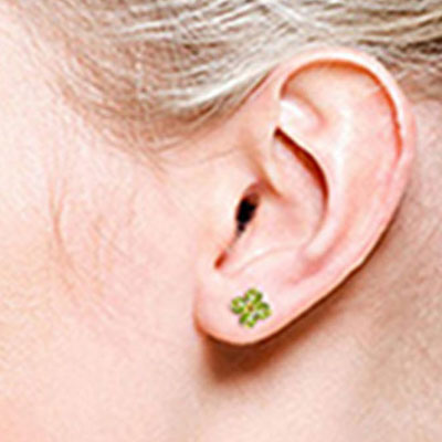Peridot Clover Stud Earrings 1.15ctw in 9ct Gold
