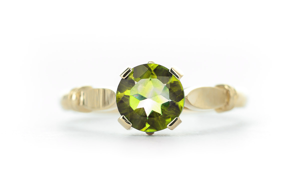 Round Brilliant Cut Peridot Solitaire Ring 1.15ct in 14K Gold