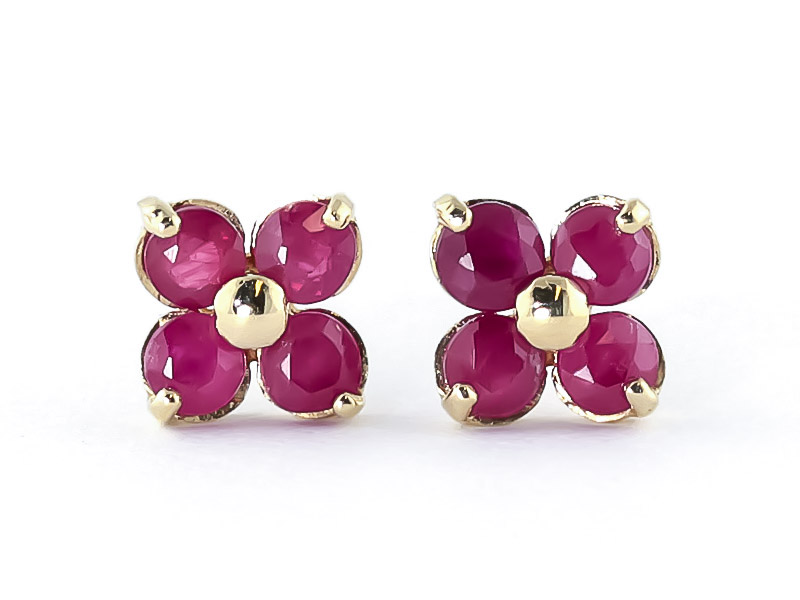 Ruby Clover Stud Earrings 1.15ctw in 9ct Gold