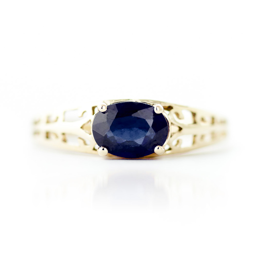 Sapphire Catalan Filigree Ring 1.15ct in 14K Gold
