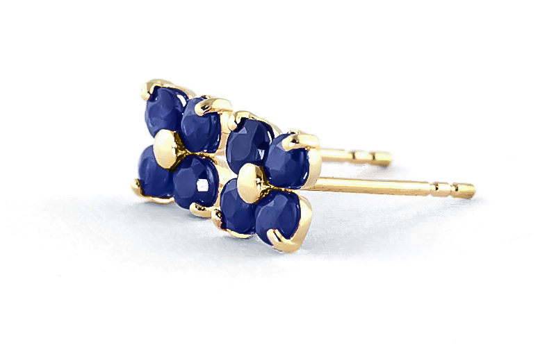 Sapphire Clover Stud Earrings 1.15ctw in 14K Gold
