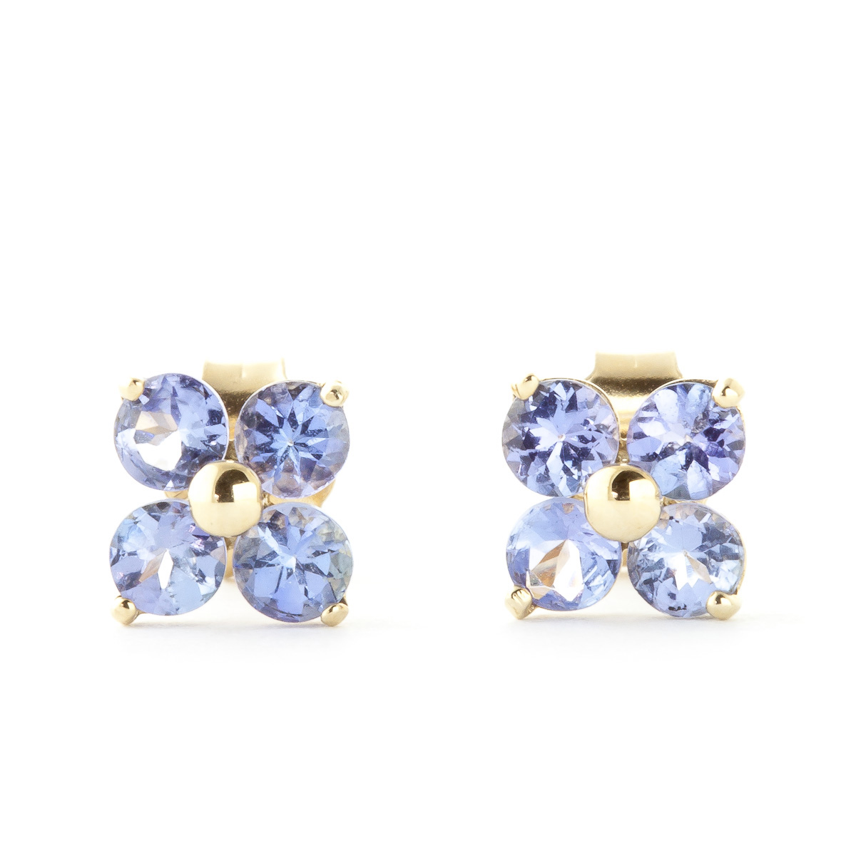 Tanzanite Clover Stud Earrings 1.15ctw in 9ct Gold