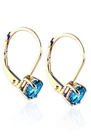 Blue Topaz Boston Drop Earrings 1.2ctw in 9ct Gold