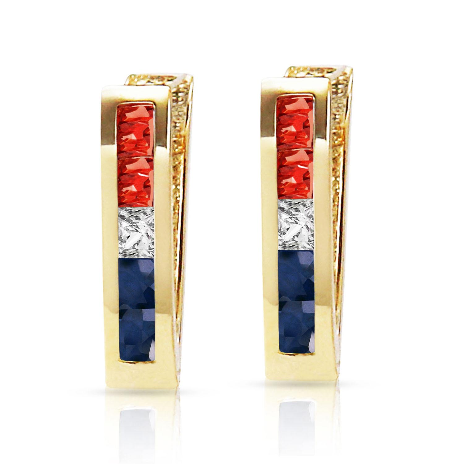 Gemstone Acute Huggie Earrings 1.28ctw in 14K Gold