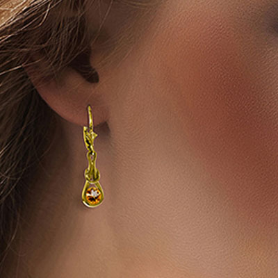 Citrine San Francisco Drop Earrings 1.3ctw in 9ct Gold
