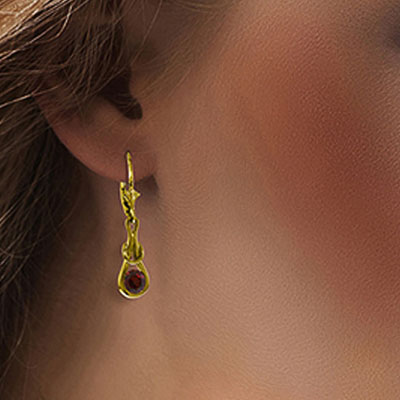 Garnet San Francisco Drop Earrings 1.3ctw in 14K Gold