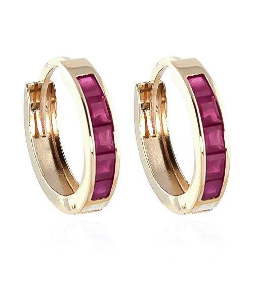 Ruby Huggie Earrings 1.3ctw in 9ct Gold
