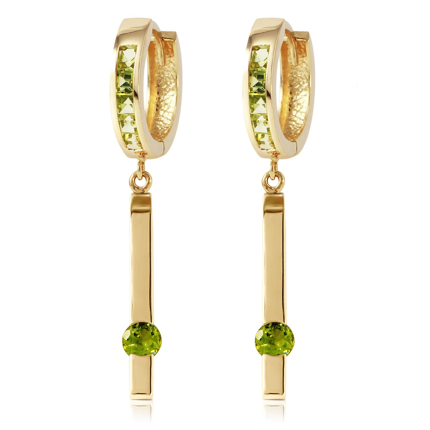 Peridot Bar Drop Earrings 1.35ctw in 9ct Gold