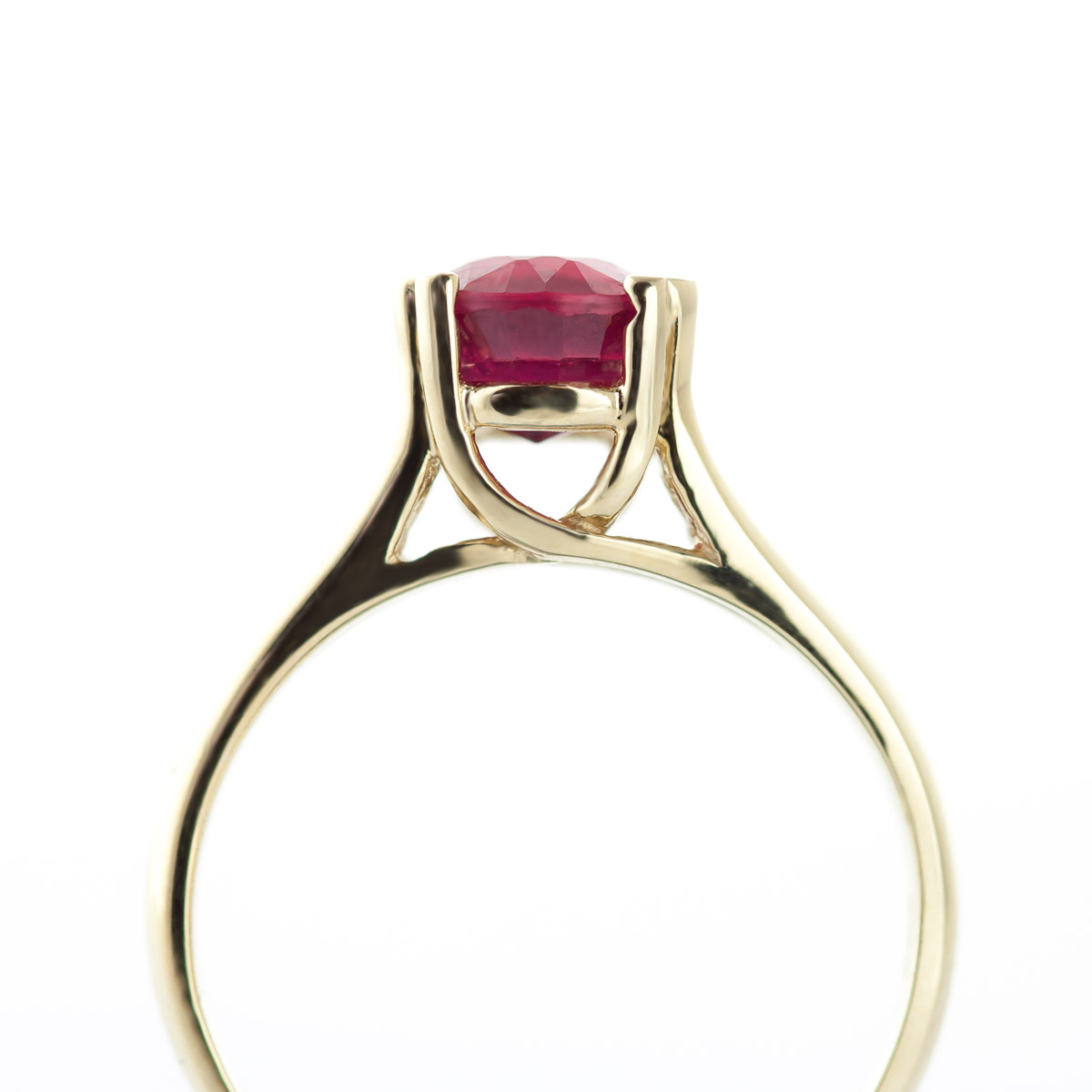 Round Brilliant Cut Ruby Solitaire Ring 1.35ct in 14K Gold