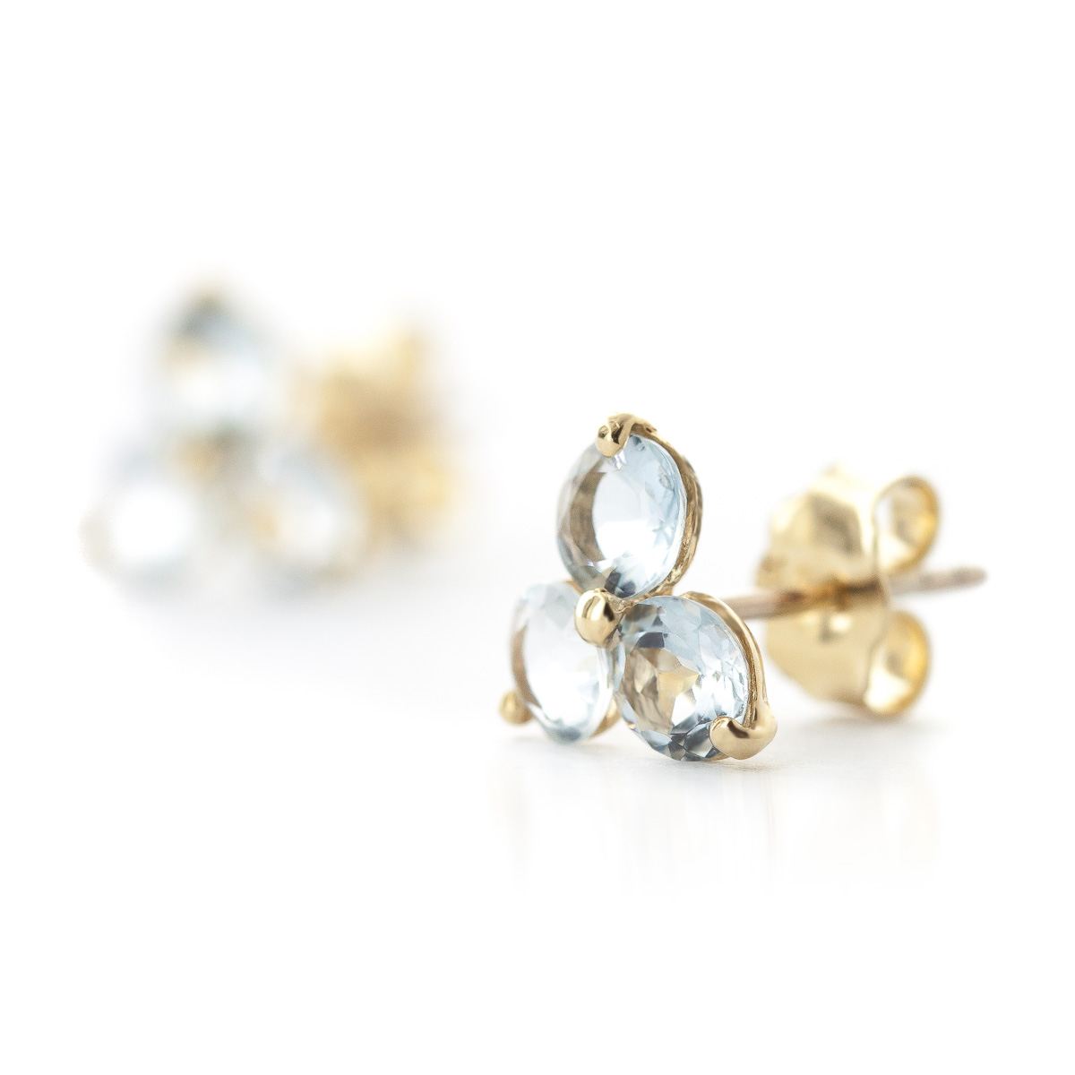 Aquamarine Trinity Stud Earrings 1.5ctw in 9ct Gold