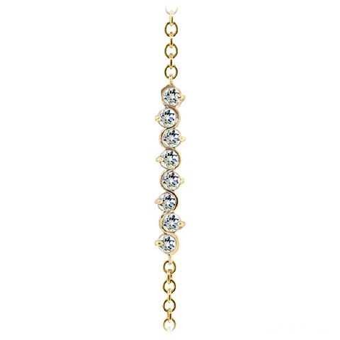 Round Brilliant Cut Aquamarine Adjustable Bracelet 1.55ctw in 9ct Gold