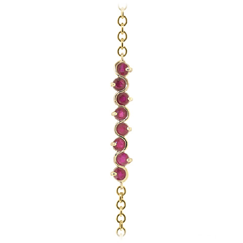 Round Brilliant Cut Ruby Adjustable Bracelet 1.55ctw in 9ct Gold