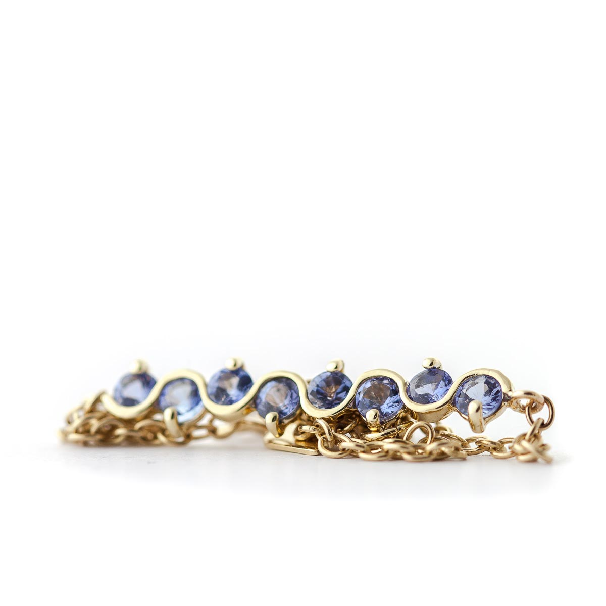 Round Brilliant Cut Tanzanite Adjustable Bracelet 1.55ctw in 9ct Gold