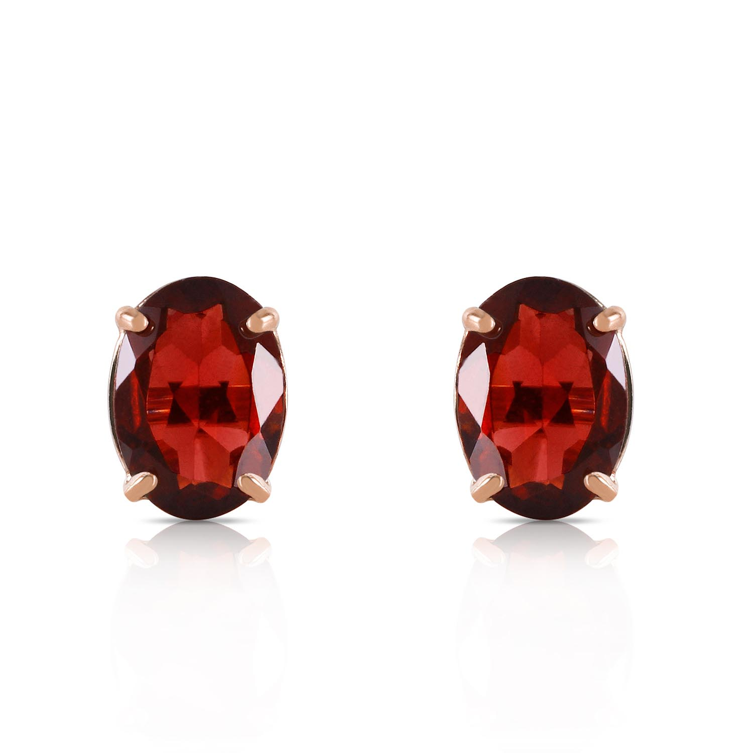 Garnet Stud Earrings 1.8ctw in 9ct Gold