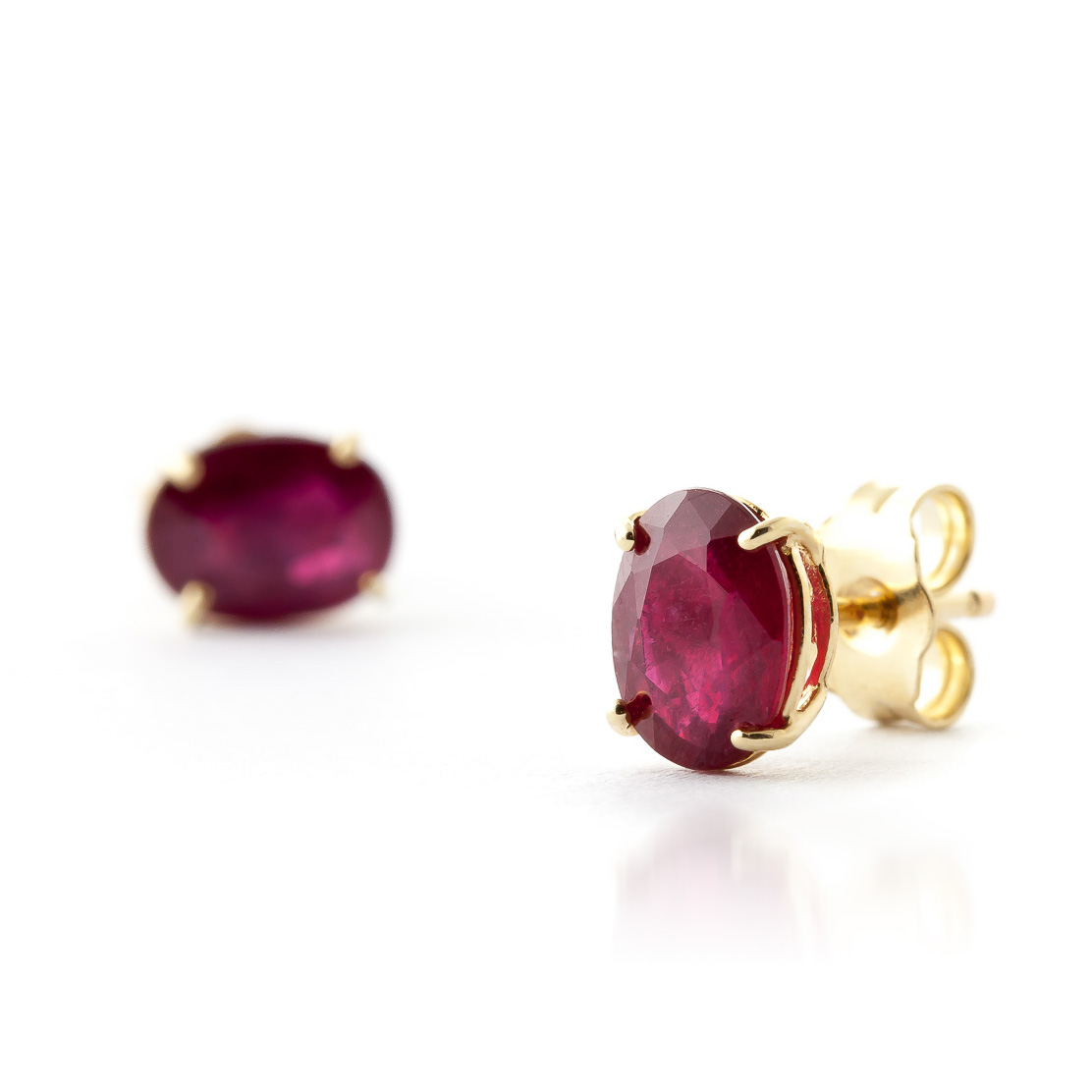 Ruby Stud Earrings 1.8ctw in 14K Gold