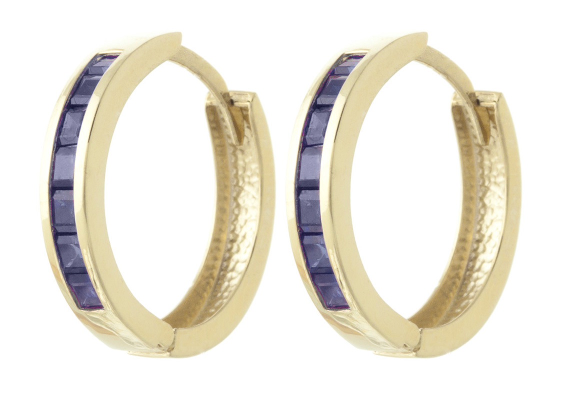Sapphire Huggie Earrings 1.85ct in 9ct Gold