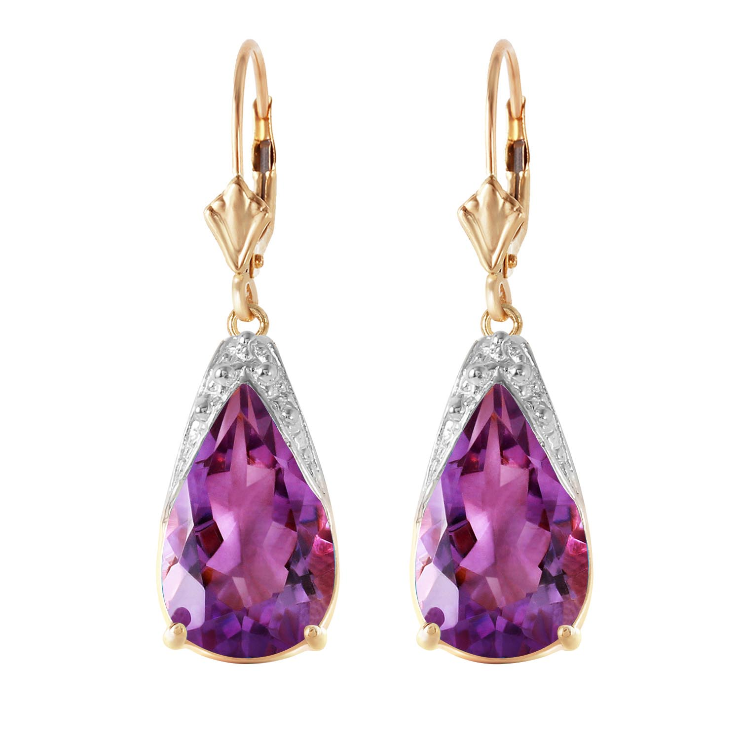 Amethyst Snowcap Drop Earrings 10.0ctw in 9ct Gold
