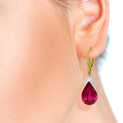Ruby Snowcap Drop Earrings 10.0ctw in 14K Gold