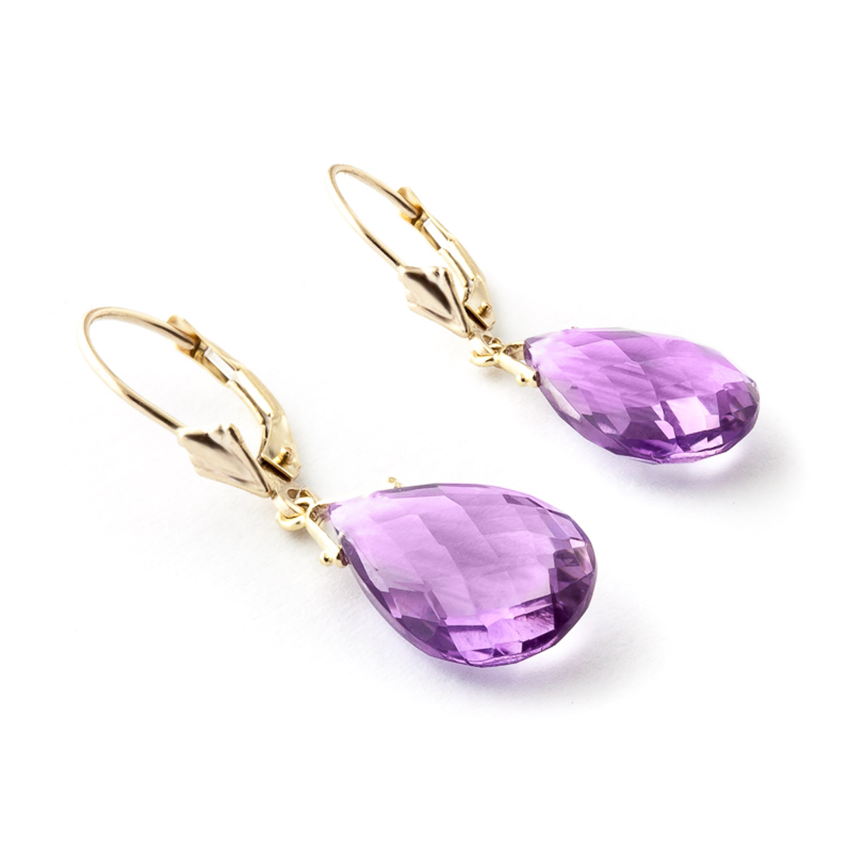 Amethyst Droplet Briolette Earrings 10.2ctw in 9ct Gold