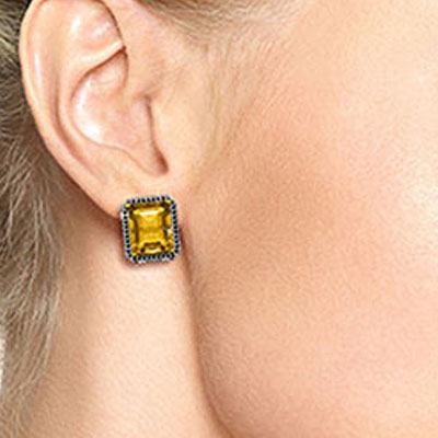 Citrine and Diamond Stud French Clip Halo Earrings 10.4ctw in 9ct Gold