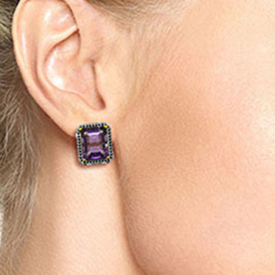 Amethyst and Diamond Stud French Clip Halo Earrings 11.2ctw in 9ct Gold