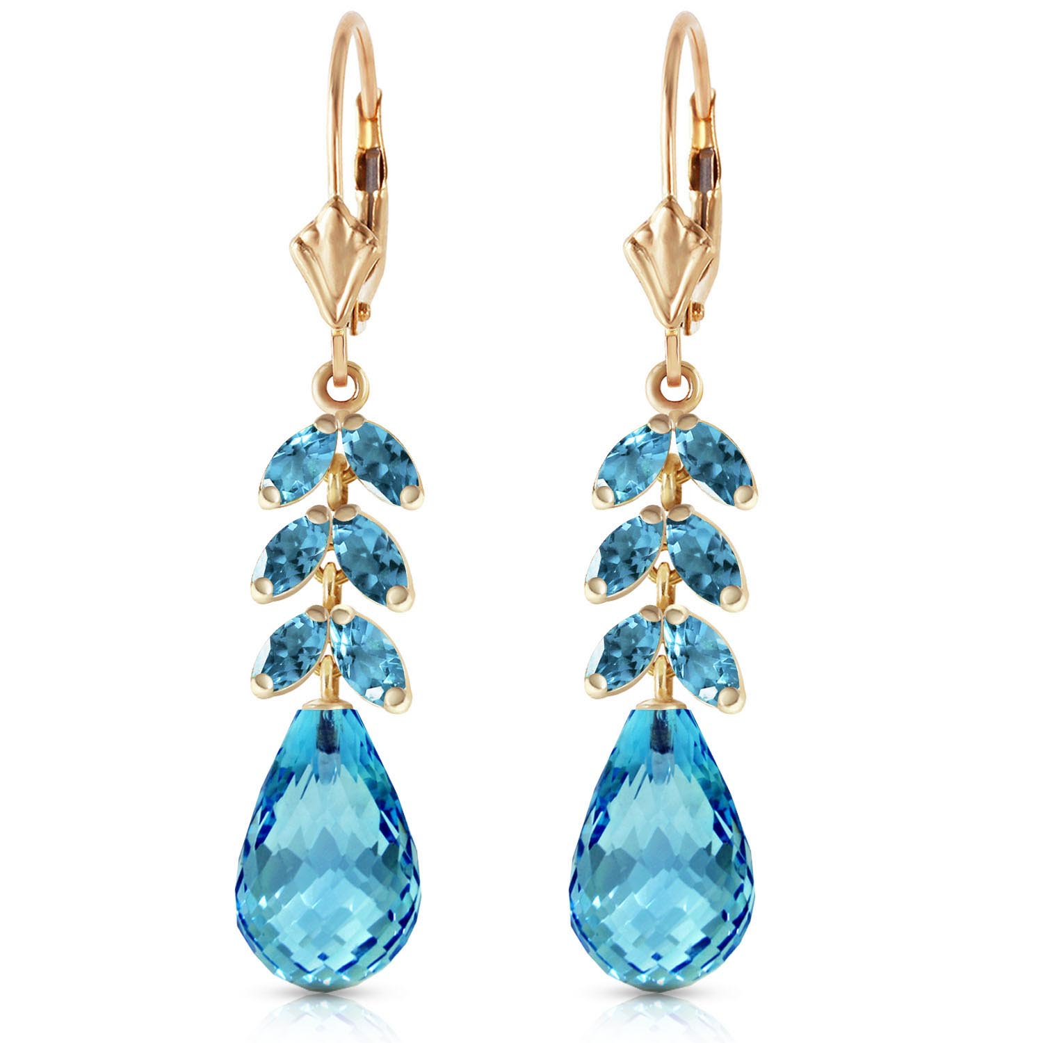 Blue Topaz Briolette Drop Earrings 11.2ctw in 9ct Gold